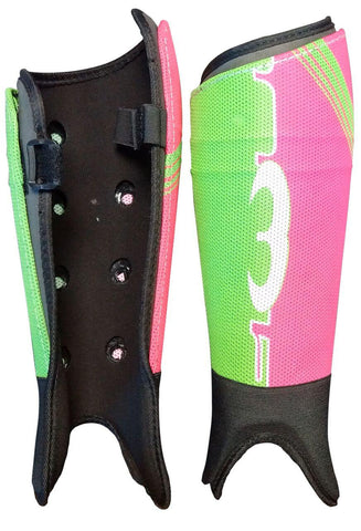 Mercian Elite field hockey shin guards pink green