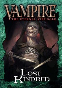 Deckbox cover for the Lost Kindred set for Vampire: The Eternal Struggle (VTES) from Black Chantry Productions.