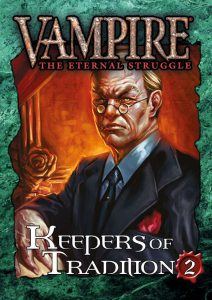 Deckbox cover for the Keepers of Tradition 2 expansion set for Vampire: The Eternal Struggle (VTES) from Black Chantry Productions.