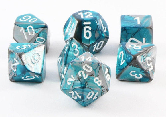 Chessex Gemini Polyhedral 7-dice Set: Steel-Teal/White