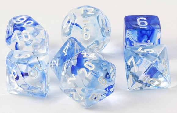 Chessex Nebula Polyhedral 7-dice Set: Blue/White