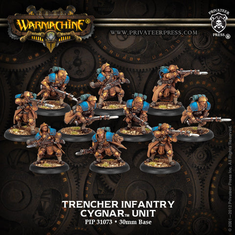 Warmachine Cygnar: Trencher Infantry with Three Weapon Attachments Unit Box (13)