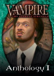 Deckbox cover for the Anthology I set for Vampire: The Eternal Struggle (VTES) from Black Chantry Productions.
