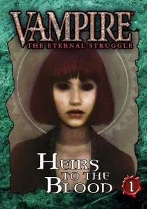 Deckbox cover for the Heirs to the Blood 1 expansion set for Vampire: The Eternal Struggle (VTES) from Black Chantry Productions.