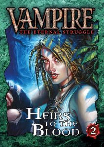 Deckbox cover for the Heirs to the Blood 2 expansion set for Vampire: The Eternal Struggle (VTES) from Black Chantry Productions.