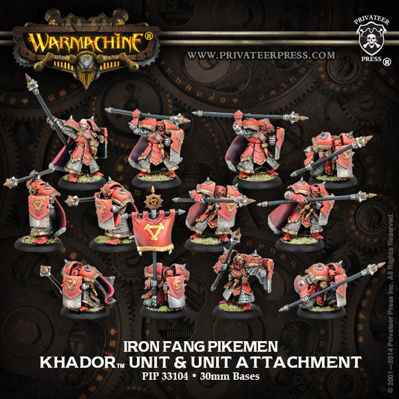 Warmachine Khador: Iron Fang Pikemen/Black Dragons PLASTIC Unit w/ Attachment (12) Box