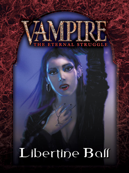 Deckbox cover for the Libertine Ball pre-constructed deck for Vampire: The Eternal Struggle (VTES) from Black Chantry Productions.