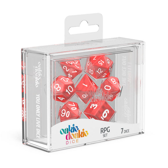 oakie doakie DICE RPG Set Marble: Red (7)