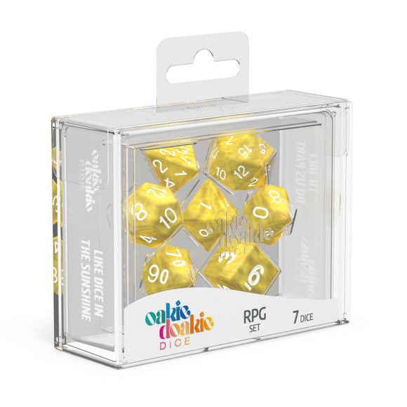 oakie doakie DICE RPG Set Marble: Yellow (7)