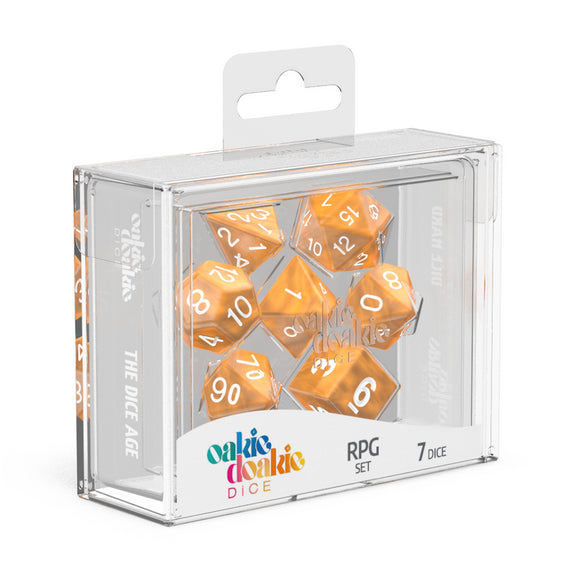 oakie doakie DICE RPG Set Marble: Orange (7)