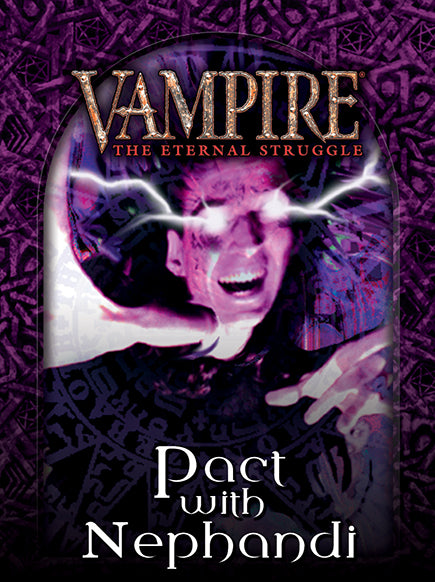 Deckbox cover for the Pact with Nephandi pre-constructed deck for Vampire: The Eternal Struggle (VTES) from Black Chantry Productions.