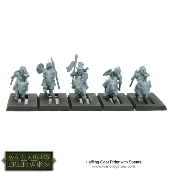 Warlords of Erehwon: Halfling Goat Rider with Spears
