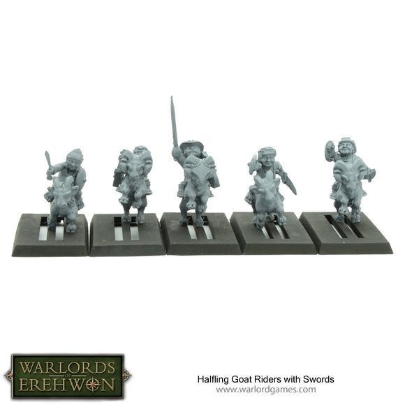 Warlords of Erehwon: Halfling Goat Riders with Swords