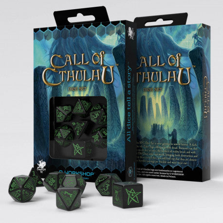 Q-workshop: Call of Cthulhu Black & green Dice Set (7)