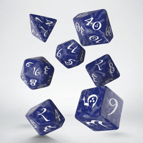 Q-workshop: Classic RPG Cobalt & White Dice Set (7)