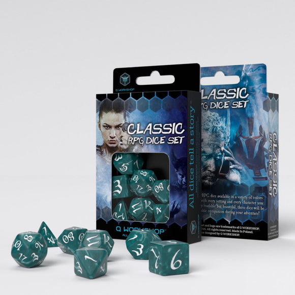 Q-workshop: Classic RPG Stormy & White Dice Set (7)