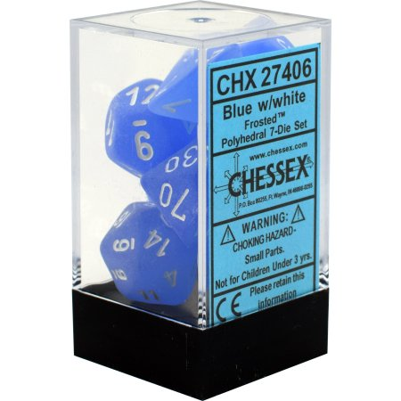 Chessex Blue w/white Frosted Polyhedral Dice set