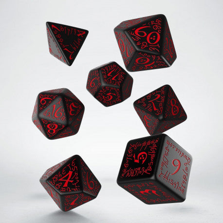 Q-workshop: Elvish Black & Red Dice Set (7)