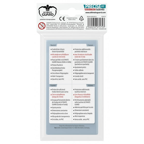 Precise-Fit Resealable Sleeves Standard Size [100]