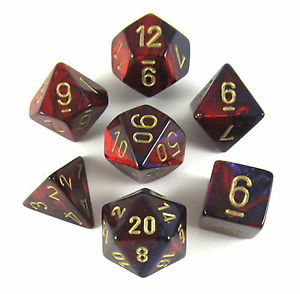 Chessex Gemini Polyhedral 7-dice Set: Purple-Red/Gold