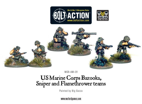 Bolt Action: USMC Bazooka, Sniper and Flamethrower teams