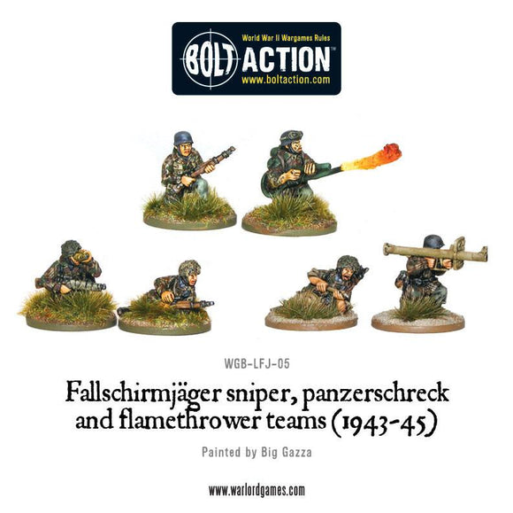 Bolt Action: Fallschirmjager sniper, panzerschreck and flamethrower teams (1943-45)