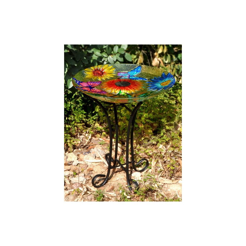 Solar glass butterfly bird bath
