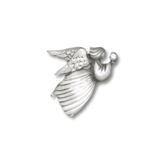 Angel Holding Crystal pewter pin