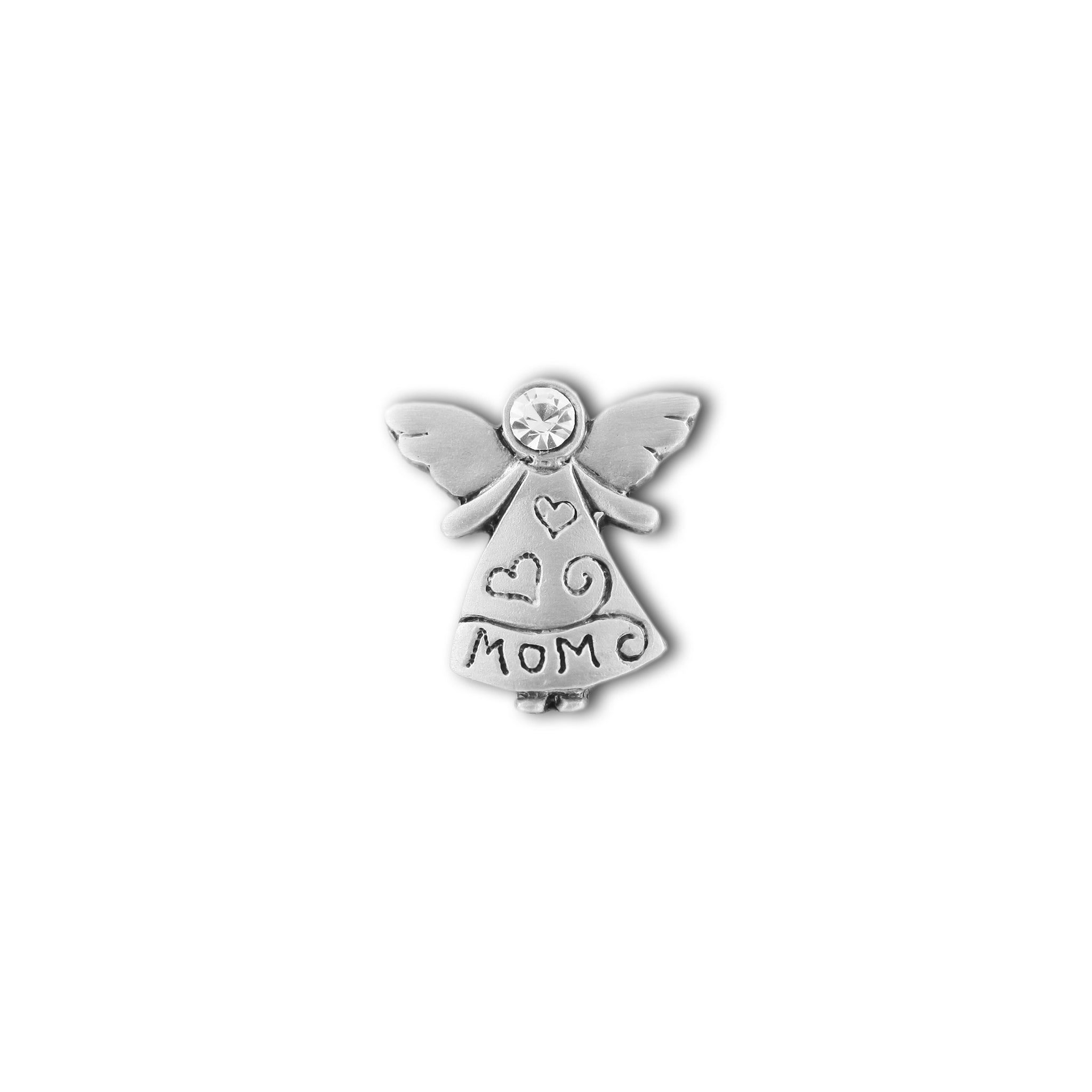 Angel Mom with Crystal Head pewter pin