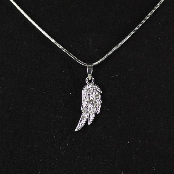 Angel Wing with Crystals necklace (clear)