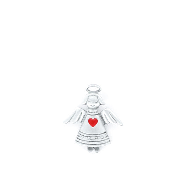 Angel with Red Heart pewter pin