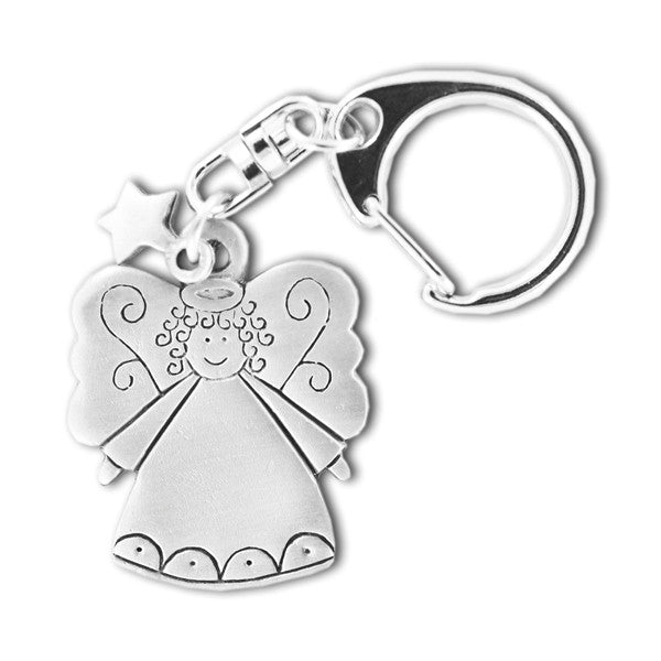 Angel with Star pewter keyring