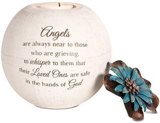 Angels Are Always Near memorial candle holder