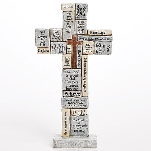 Collage Crossword Standing Table Cross - Blue