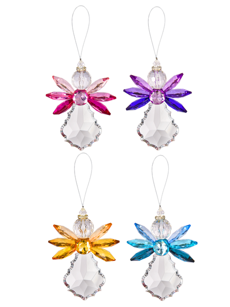 Crystal angels - large hanging acrylic ornament