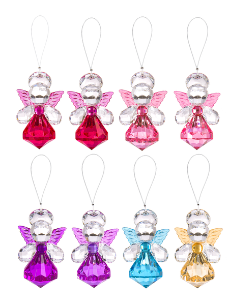 Crystal Angels - acrylic angel hanging ornaments Coloured