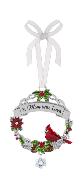 "Cardinal zinc tree ornament ""To Mom with love"""