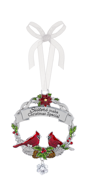 "Cardinal zinc tree ornament ""Sisters make Christmas special"""