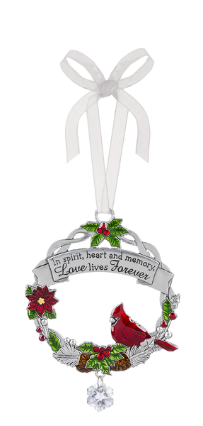 "Cardinal zinc tree ornament ""In spirit, heart and memory, Love lives forever"""