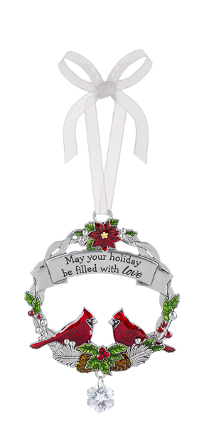 "Cardinal zinc tree ornament ""May your holiday be filled with love"""
