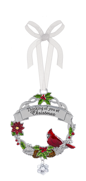 "Cardinal zinc tree ornament ""Thinking of you at Christmas"""