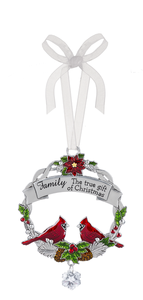 "Cardinal zinc tree ornament ""Family.  The true gift of Christmas"""