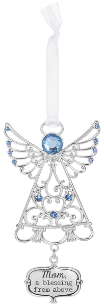 "Angel zinc tree ornament ""Mom. A blessing from above"""