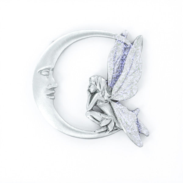 Fairy on the Moon pewter pin