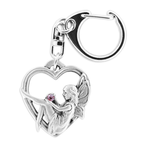 Fairy in Heart pewter keyring