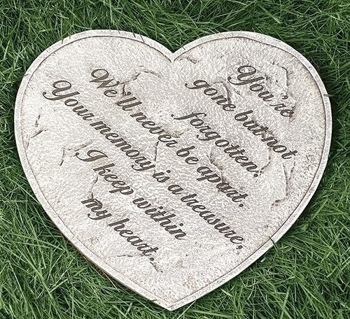 Heart-shaped memorial garden stone