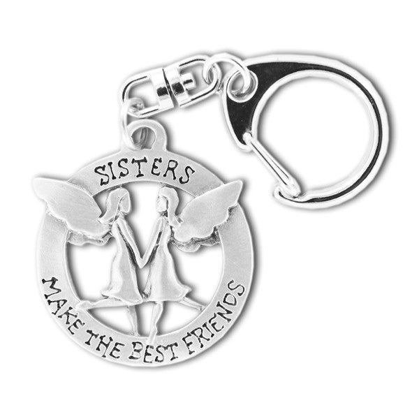 Sisters Make The Best Friends pewter keyring