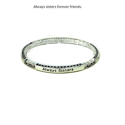 Always Sisters Forever Friends narrow stretch bracelet