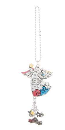 Car charm - Never drive faster than your guardian angel can fly - colourful