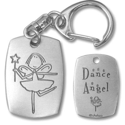Dance angel pewter keychain